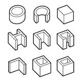 Metal Profiles  Icons Set. Steel Products. Vector. Illustration Stock Photos