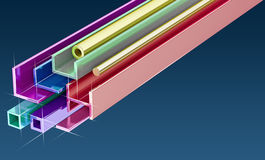 Metal profiles made of steel. Colorful illustration of steel used in construction Royalty Free Stock Photography