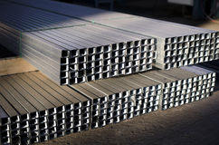 Metal profiles. Sheet metal profiles in production hall Royalty Free Stock Photos