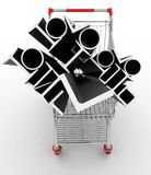 Metal profiles in your shopping cart. Conception of trading. 3d illustration Royalty Free Stock Images