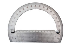 Metal  protractor Royalty Free Stock Images