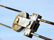 Metal pulley and cable Stock Photo