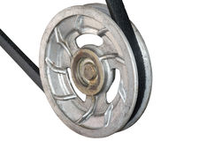 Metal pulleys with belt. On a white background royalty free stock photos