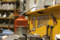 Metal pump lubrication. Metal pump grease in the workshop Royalty Free Stock Photography