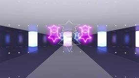 Metal, purple and blue tunnel with neon shape of star. Technology, future and fashion concept with ultraviolet light.  stock video footage