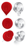 Metal push pins and buttons vector Royalty Free Stock Images
