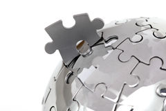 Metal puzzle globe, close-up Royalty Free Stock Photos