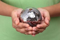 Metal puzzle globe Stock Photos