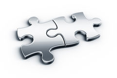 Metal puzzle pieces Royalty Free Stock Photography