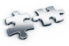 Metal puzzle pieces stock illustration