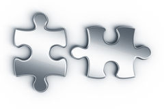 Metal puzzle pieces Stock Photos