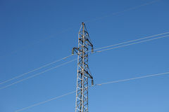 Metal pylon with a blue sky Stock Images