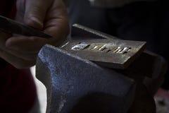 Metal que cincela Fotos de archivo libres de regalías