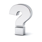 Metal question mark over white background with reflection and shadow Stock Photo