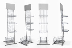 Metal rack with baskets for product exposition with blank shelf Stock Photo