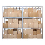 Metal racks with boxes isolated on white background Stock Photo