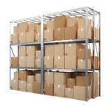 Metal racks with boxes isolated on white background Royalty Free Stock Photo