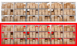 Metal racks with boxes isolated on white and red background. 3d metal racks with boxes isolated on white and red background Royalty Free Stock Photography