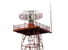 Metal radar tower in airport area Royalty Free Stock Photos