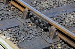 Metal rail with joiner on railway track. Stock Photo