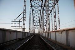 Metal rail road bridge royalty free stock photos