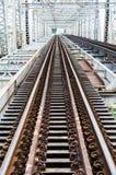 Metal rail road bridge Stock Images