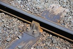 Metal rail track on wooden sleeper. Stock Images