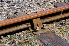Metal rail on wooden sleeper. Stock Photos