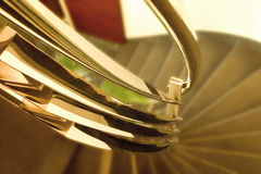 Metal railing detail. Luxurious gold colored metal railing detail Royalty Free Stock Photos