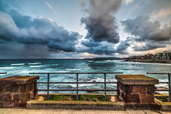 Metal railing by the shore in Alghero Stock Image