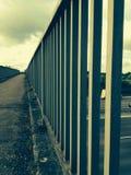 Metal Railings. On a bridge stock photo