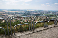 Metal railings and city in the background Stock Images
