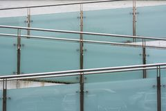 Metal railings and glass wall, Outdoor staircase. Metal railings and glass Outdoor staircase royalty free stock images