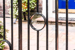 Metal Railings. An image of Metal Railings outside looking through to a blue door complete with step Royalty Free Stock Images