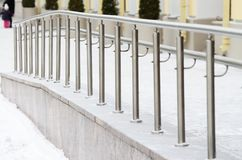 Metal railings for pedestrians. It protects people from falling Stock Photography