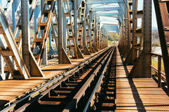 Metal railroad tunnel bridge Royalty Free Stock Photo