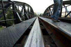 Metal railway bridge Royalty Free Stock Photo