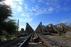 Metal railway bridge Royalty Free Stock Photos
