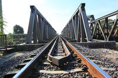 Metal railway bridge Royalty Free Stock Image