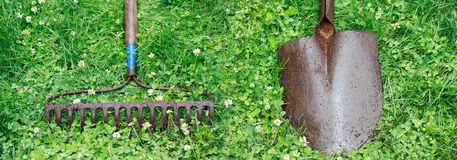 Metal Rake and Shovel Stock Images