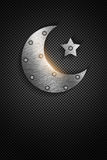 Metal ramadan kareem card with moon and star Royalty Free Stock Images