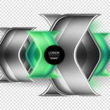 Metal realistic techno arrow background design. Metal realistic techno green arrow background design template Stock Images