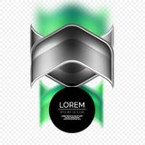 Metal realistic techno arrow background design. Metal realistic techno green arrow background design template Royalty Free Stock Photography