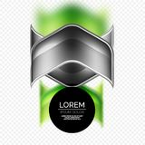 Metal realistic techno arrow background design. Metal realistic techno green arrow background design template Royalty Free Stock Image