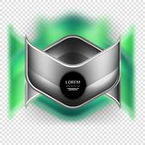 Metal realistic techno arrow background design. Metal realistic techno green arrow background design template Royalty Free Stock Images
