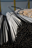 Metal rebars. Wire rod and reinforcing bars, using for construction Stock Photo