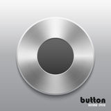 Metal record button. Round record button with brushed metal aluminum chrome texture isolated on gray background Royalty Free Stock Images