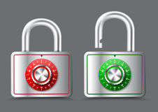 Metal rectangular Padlock with open and closed handle, with mech Royalty Free Stock Images