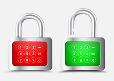 Metal rectangular Padlock with a red and green display with a nu Stock Photo