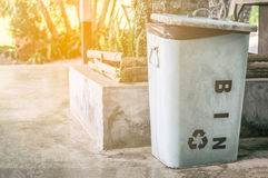 Metal Recycle bin help save the world Stock Photo